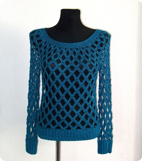 Custom made crochet sweater , Eleven handmade crochets by Linda Skuja