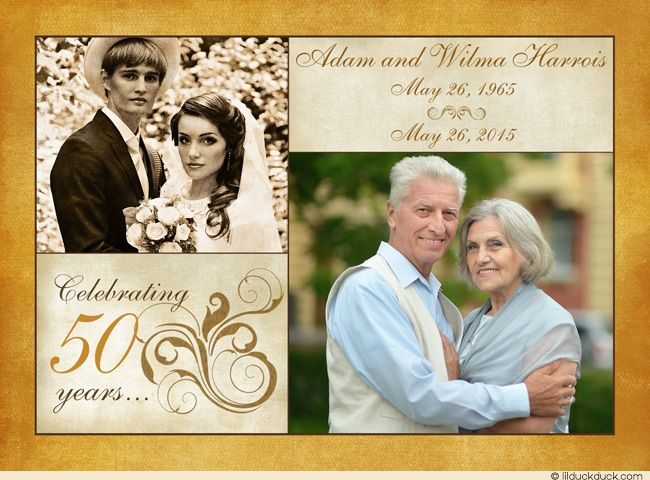 Double-Sided Two Photo 50th Anniversary Card Invitation Idea - Front With Images
