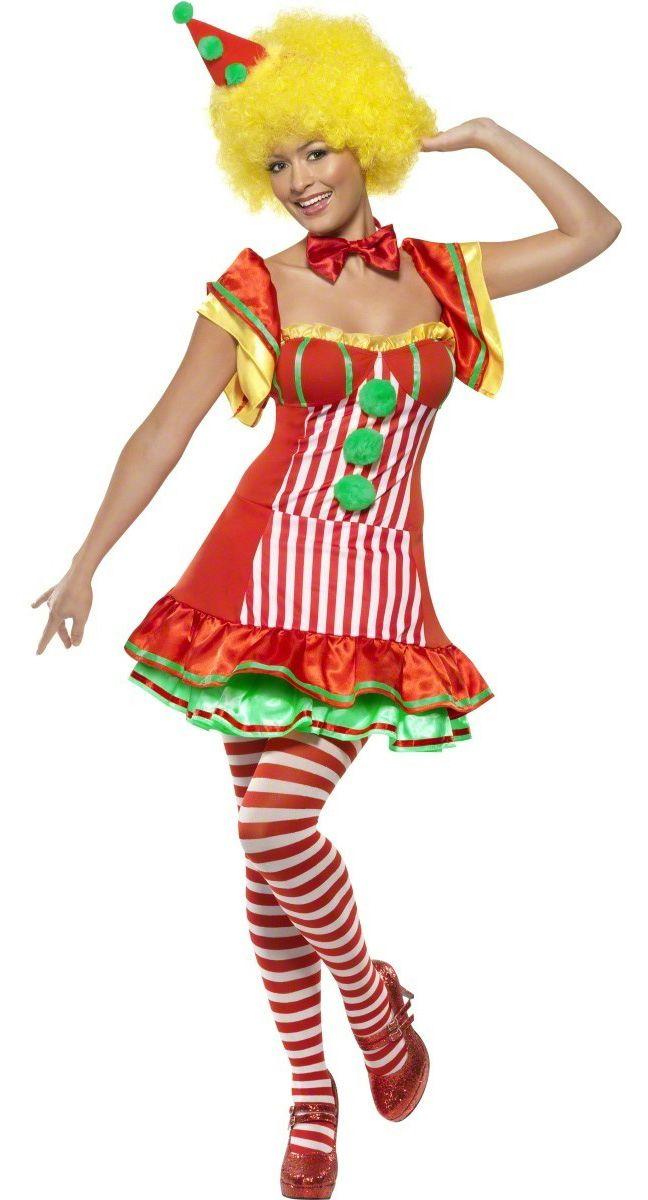 Disfraz de payaso para mujer: Este disfraz de payaso feliz para mujer está compuesto de un vestido y una diadema. El vestido es ajustado, con una enagua para darle volumen. No hay cremallera, pero la tela es fácil...