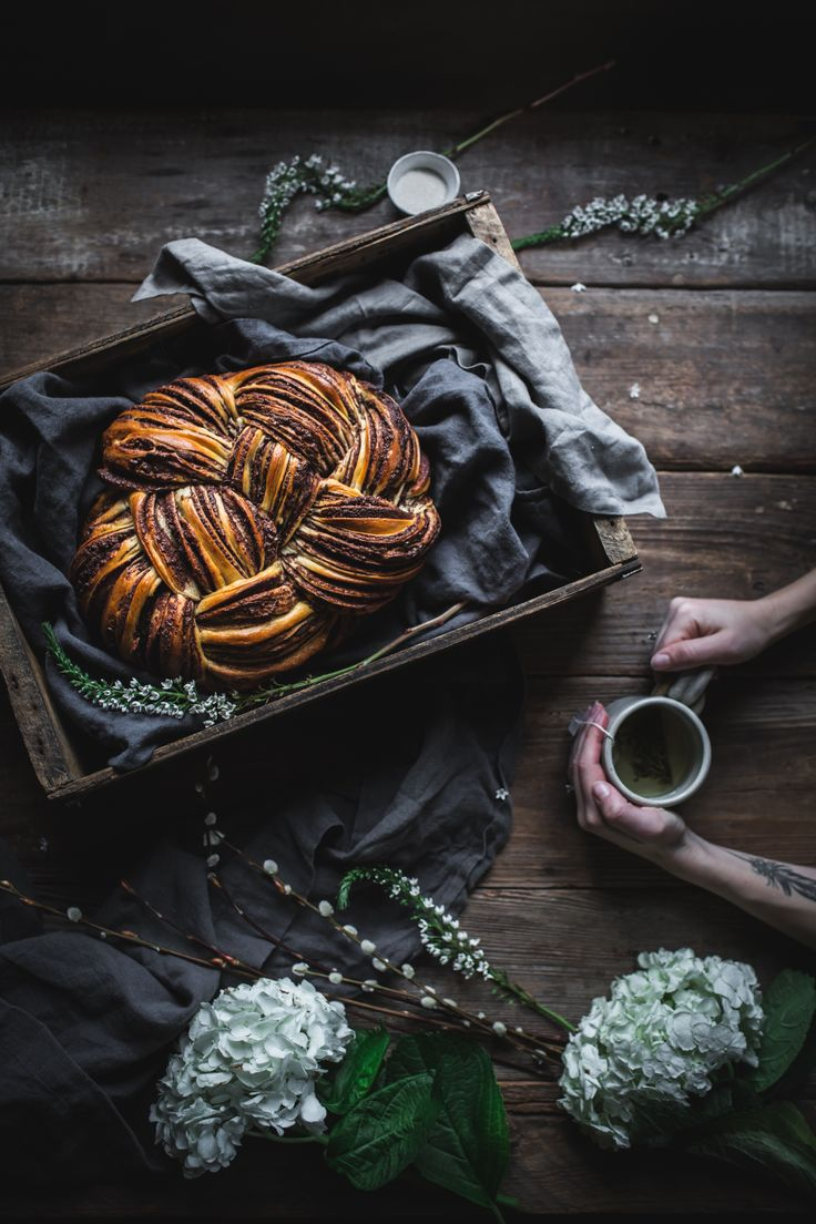 A delicious recipe for a beautiful braided chocolate cinnamon woven bread, with a how-to video and step by step images guiding you through weaving the dough.