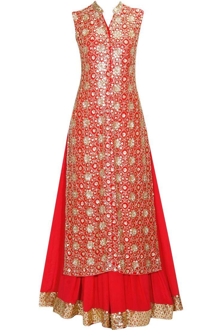 Red floral pattern sequins embroidered jacket kurta and lehenga set available only at Pernia's Pop Up Shop.#perniaspopupshop #shopnow #anushkakhanna#partyseason #happyshopping #designer #clothing #festive #weddings: