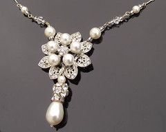 Floral Rhinestone and Ivory Pearl Pendant, Alyson