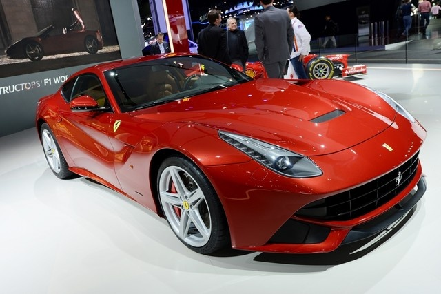 A Ferrari F12 Berlinetta on display at the company's booth during the 2013 Detroit Auto Show...................