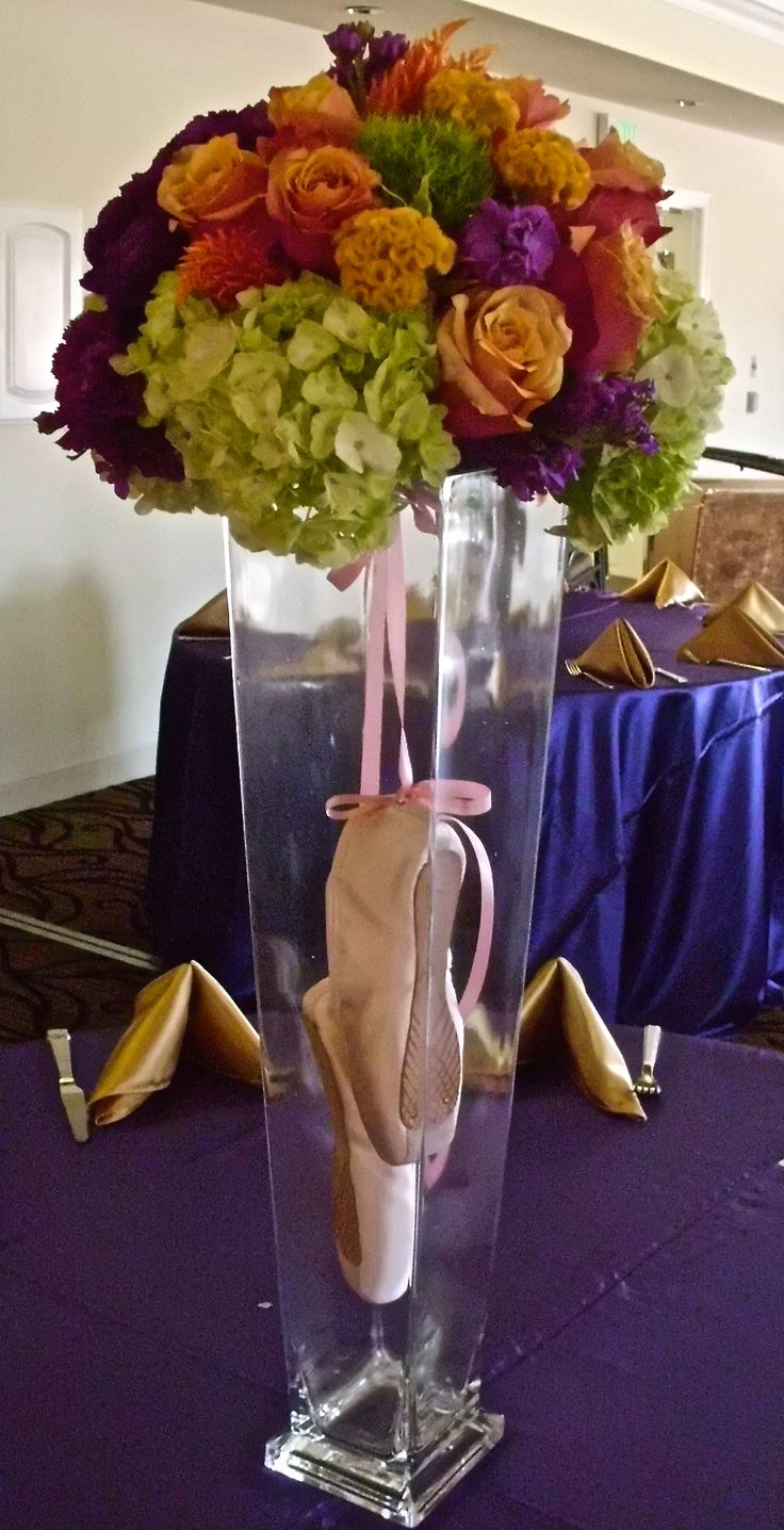 Ballet themed bat mitzvah - floral centerpiece - design by DB Creativity - laura@dbcreativity.com - dance - sweet 16 - birthday - ballet slippers - pink - orange - purple - green