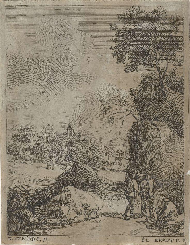 Jan Lauwryn Krafft (I) | Landschap met reizigers en twee herders, Jan Lauwryn Krafft (I), 1704 - 1765 | Bij een rotsachtige weg zijn drie reizigers met elkaar in gesprek. Op het veld achter de weg laten twee herders hun runderen grazen. Op de achtergrond een kerktoren.