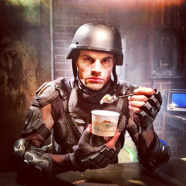 Joel Smallbone snacking during the Proof of Your Love video shoot. That's awesome!