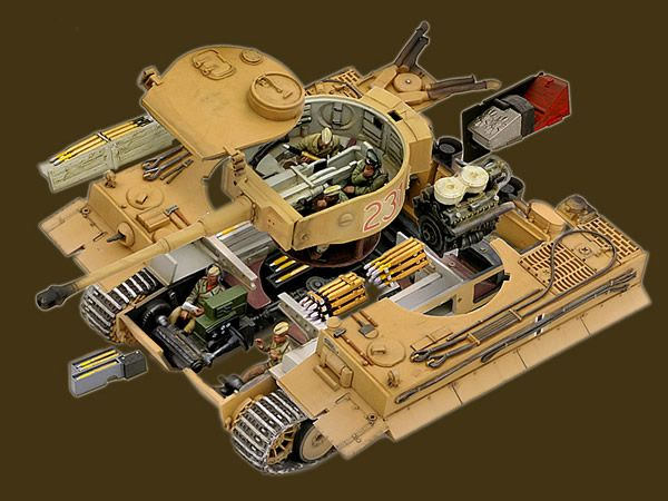 """TIGER TANK MODEL """" expanded view """" SHOWING INTERIOR"""