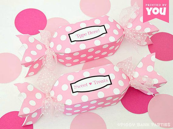 Sweet Dots Favor Box - Pink : DIY Printable Wrapped Candy Shaped Box PDF - Instant Download
