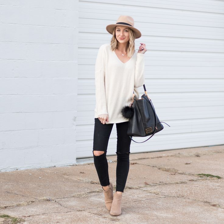 white sweater, black skinny jeans, taupe suede booties