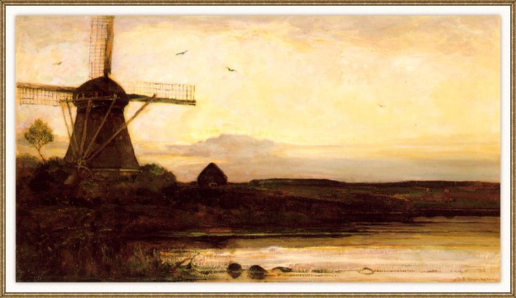 Composition A - Piet Mondrian - Mill in the Evening - WikiPaintings.org