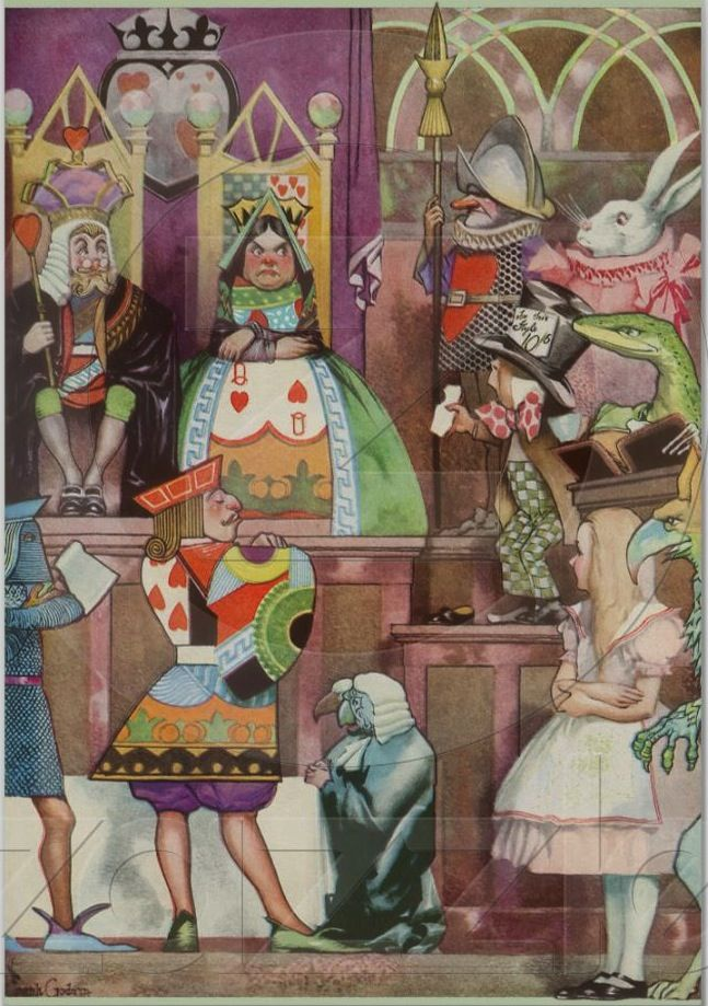 Alice in Wonderland fairy tale. Illustration by American illustrator Frank Godwin (1889-1959). The illustration depicts Alice in court with the Queen of Hearts.