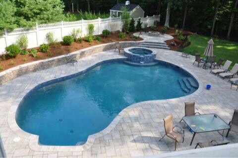 Paver pool deck in ma pool decks pinterest decking for Pool design massachusetts