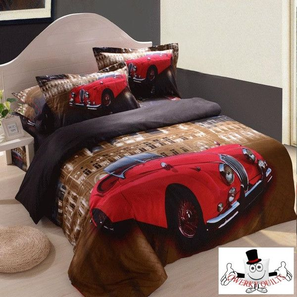 3D Red Car Vintage Bedding Set and Quilt Cover Buy Here: http://www.qwerkyquilts.com/collections/misc-quilt-cover-designs/products/3d-red-car-vintage-bedding-set-and-quilt-cover