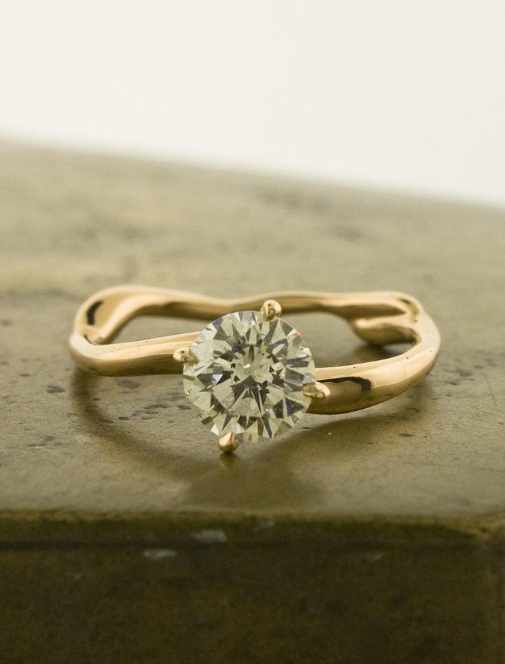 white sapphire gold unique engagement