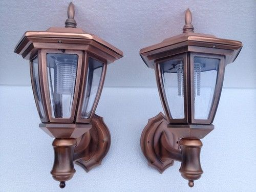 Copper Solar Wall Lights with Carriage Lanterns, 5 LED bulbs 6 Colors, 3.2V Battery. Set of 2 for entrance, deck, patio.