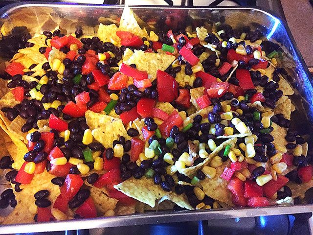 Spread your cooked vveggies over nacho chips