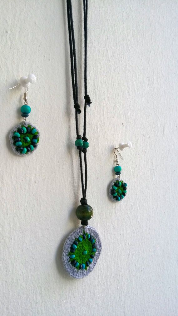 Hand knitted green-gray necklace-earring set Stylish by KirkeCraft