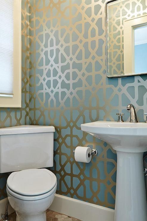 1000 ideas about trellis wallpaper on pinterest damask for Blue bathroom wallpaper
