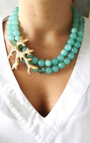cuentas de collar de coral azul verdoso