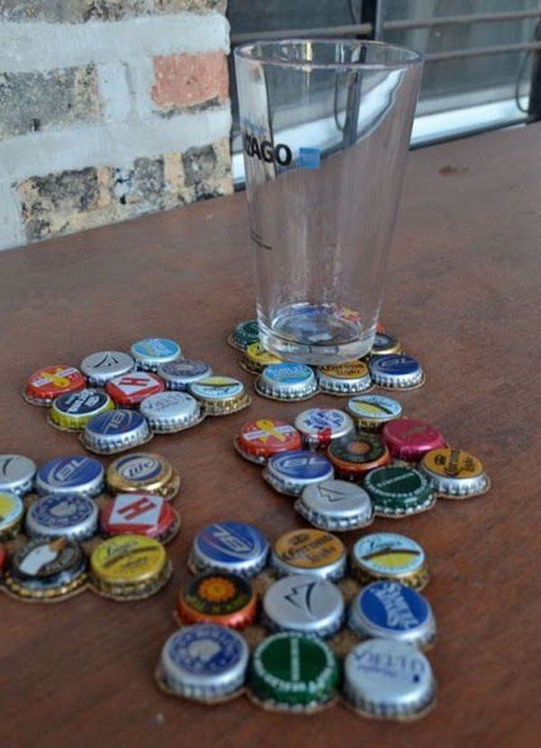Save those old beer bottle caps and make DIY coasters!