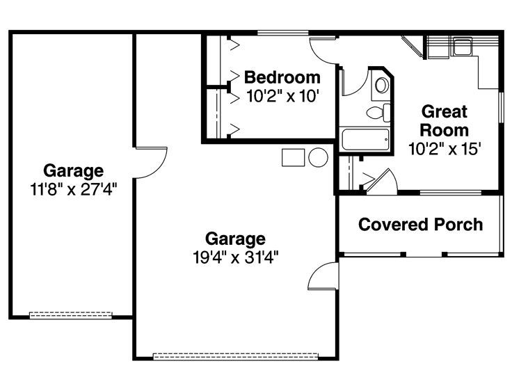 16 best images about garage apartment guest house on pinterest for Guest apartment floor plans