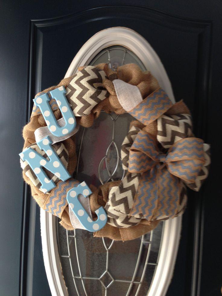 UNC Tarheel burlap wreath
