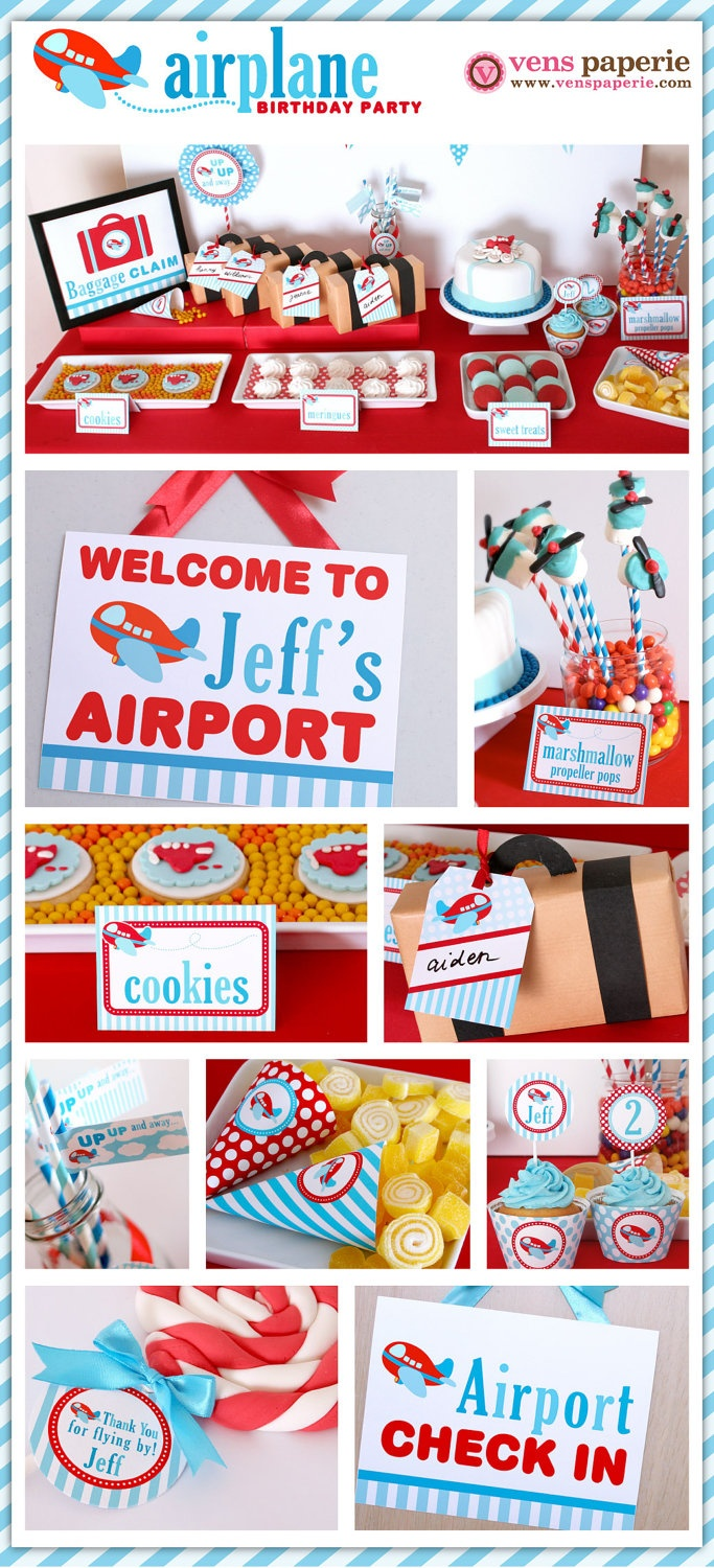 Airplane Party Package Personalized FULL Collection Set  - PRINTABLE DIY - PS818CA1x. $35.00, via Etsy.