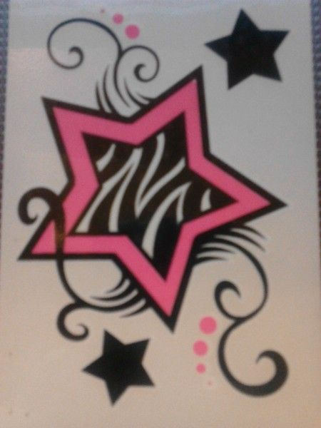 zebra print tattoos | Free Stuff: pink neon star tattoo, with polka dots and zebra print ...