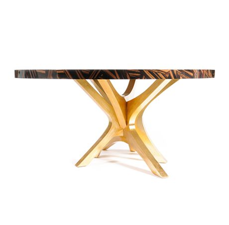 Patch Dining Room by Boca do Lobo | PATCH is a intricate wood veneer top dining room table. A sophisticated roud dining table. www.bocadolobo.com