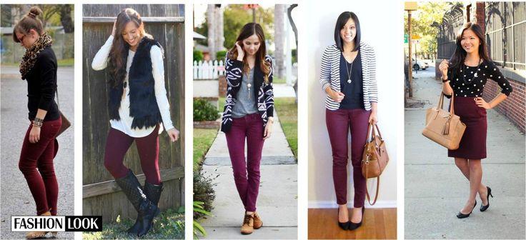 5 spôsobov skombinovania burgundy nohavíc (a sukne)! Ktorý je ten váš? :) #dnesnosim #burgundy #HOTorNOT #inspiration