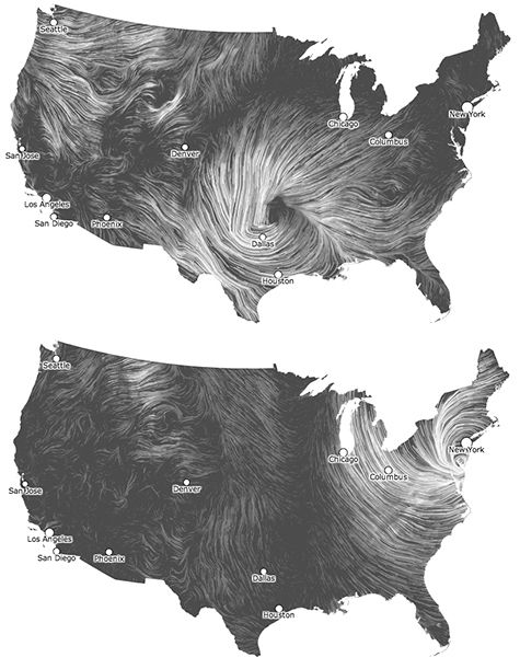 Beautiful Wind Maps From Artists Martin Wattenberg And Fernanda Viegas You Can Watch Realtime Data Or Look Up Specific Dates The Second Map Is From