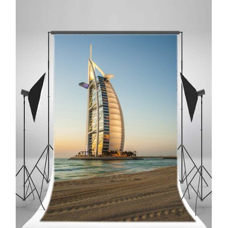 Mohome Polyester Fabric Burj Al Arab Hotel Backdrop 5x7ft Dubai Bay Luxury Building Beach Holiday Dessert