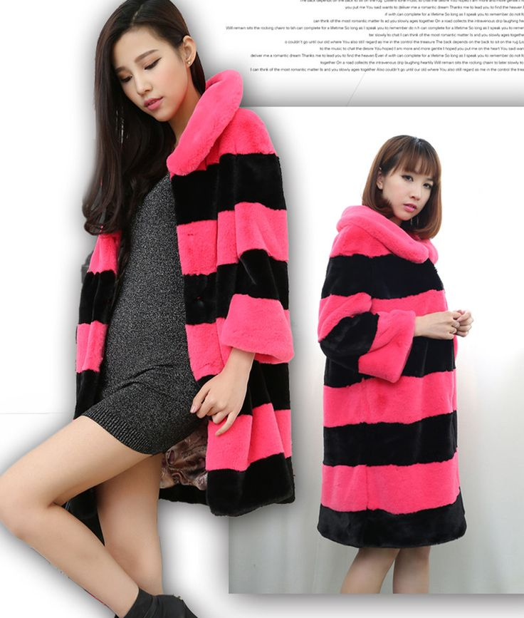 Long Stripes Women Loose Faux Rabbit Fur Coat Thickened Slim Full Pelt Thick Warm fur outwear Special Clearance XHSD-144