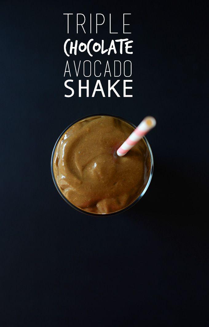 Triple Avocado Chocolate Shake      1 ripe avocado, sliced and frozen until hard     1/2 large banana, peeled, sliced and frozen until hard     1 Tbsp cacao o...