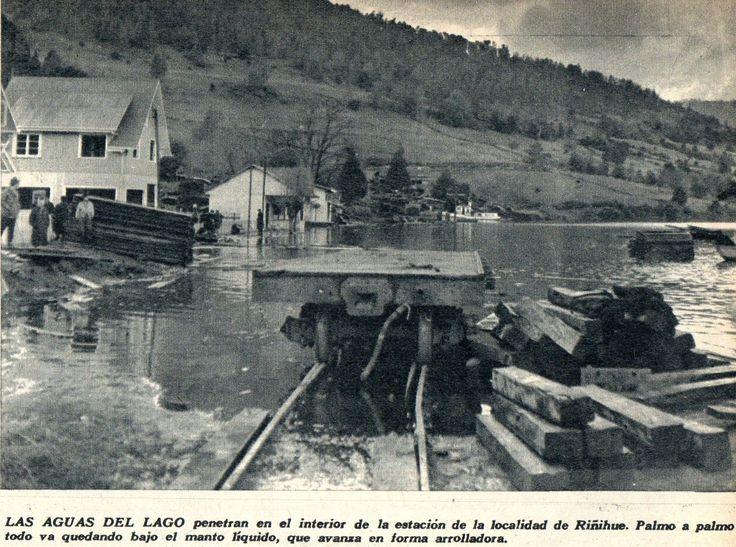 Estación de Ferrocarriles Riñihue. Junio 1960 publicado en revista Vea