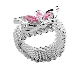 Tiffany and Co Outlet Mesh ring with flower Pink    $29.99  SAVE: 89% OFF