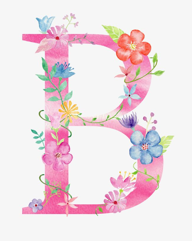 Flowers Letter B Letter Flower B Png Transparent Clipart Image And Psd File For Free Download Flower Letters Floral Letters Watercolor Lettering