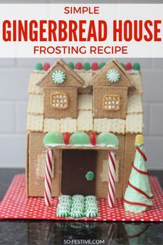 Simple Gingerbread House Frosting recipe for those cute Christmas graham cracker houses you plan to decorate this year!