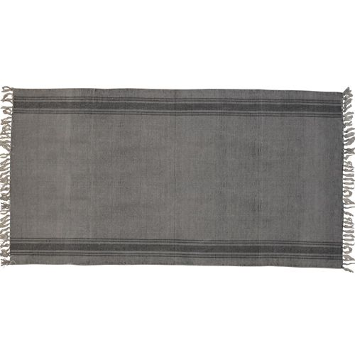 Tapis de couloir rectangulaire en coton gris avec rayures