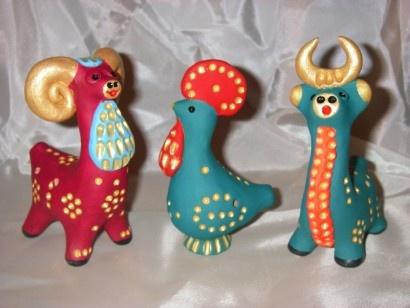 Глиняная игрушка с абашевской росписью