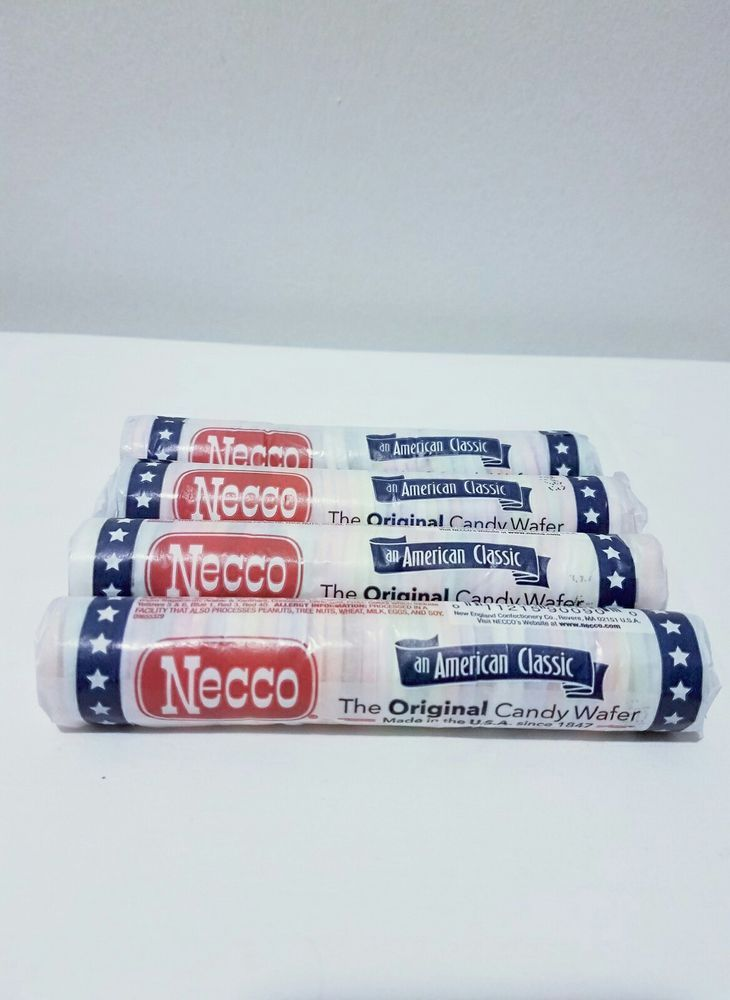 NECCO CANDIES NOSTALGIC WAFERS  assorted flavor rolls candy classic  FOUR ROLLS  #NECCO