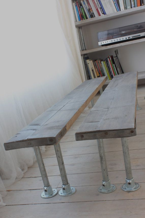 Pair of Reclaimed Greywashed Scaffolding Board and by inspiritdeco - Made with Kee Klamp Fittings