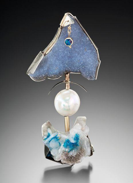 Pendant. drusy, pearl, cavansite, sterling, 14 KW, sterling. $800 | Flickr | Lisa Ben-Zeev