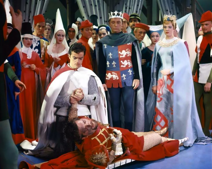 Julie Andrews, Richard Burton and Robert Goulet in the original Broadway production of Camelot.