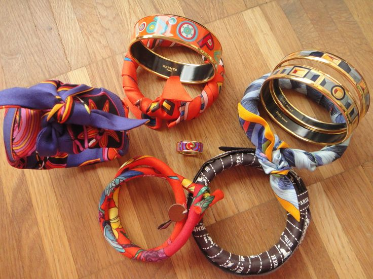 :-) Bangles with and without Hermès Twillys and signature Bolduc ribbon :-)