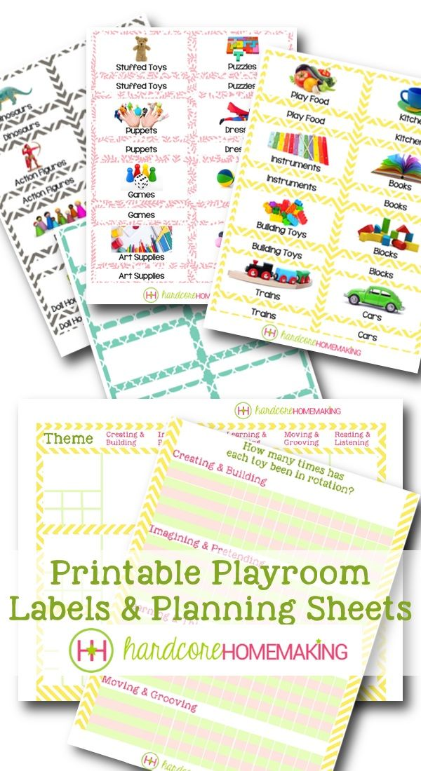 Printable Playroom Toy Bin Labels and Planning / Tracking Checklists