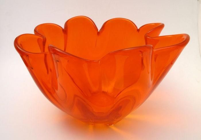 LARGE VINTAGE ITALIAN MURANO VIBRANT ORANGE ART GLASS BOWL RETRO MID CENTURY