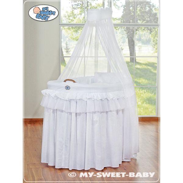 Berceau bébé en osier complet avec textile blanc retombant