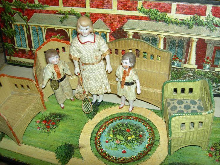 4 pc. KORBI Germany, antique wicker dollhouse furniture set, Karl Schreiter 1920 #KorbiorMoritzGottschalk