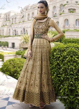 Cream Embroidery Sequins Work Lace Border Stone Work Long Designer Anarkali Suit http://www.angelnx.com/Salwar-Kameez/Anarkali-Suits
